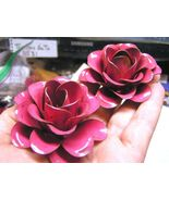 TWO Large metal Pink Roses flowers for embellishments and accents - $19.77