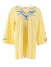 Quacker Factory Split Neck Denim Floral Knit Tunic Yellow L NEW A212748 - $24.73