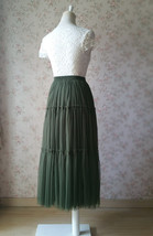 ARMY GREEN Layered Long Tulle Skirt Wedding Bridesmaid Tulle Skirt Plus Size image 6