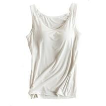 Womens Modal Built-in Bra Padded Camisole Yoga Tanks Tops White XXL - $17.34