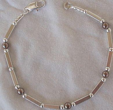Brown silver bracelet  A
