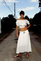 Handmade Organic Gauze Cotton coconut Skin Buckle Long Skirt - $59.00