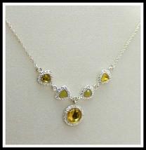 RARE Avon Legacy Riches necklace in lemon yellow chiffon w rhinestones NIB - $12.82
