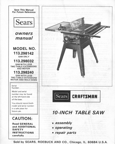 Delta Table Saw Model 34-670 Instruction  Manual