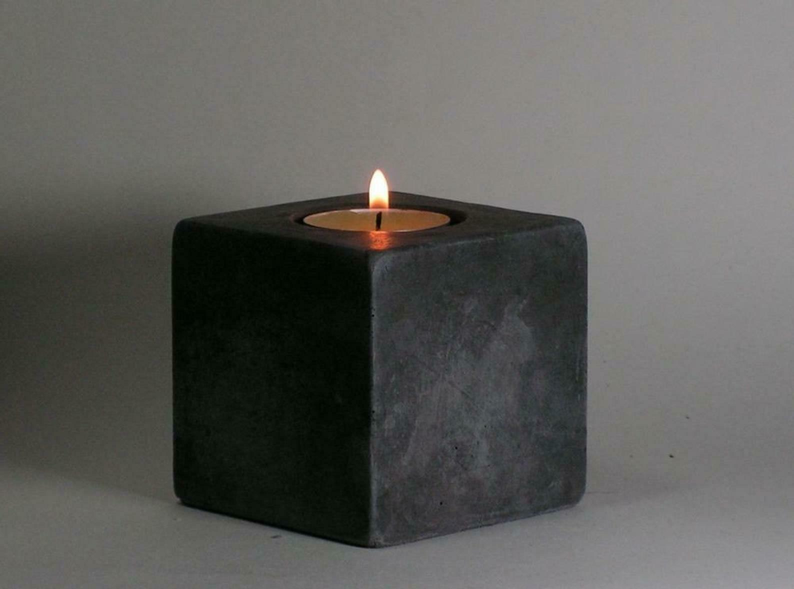 No.13 Cube Concrete Tea Light Candle Holder Handmade Home & Decor Accents