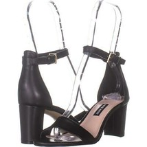 Nine West Pruce Ankle Strap Sandals 861, Black Leather, 6 US - $25.91