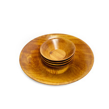 Vintage mid century set of 5 hand made wooden bowls - £65.69 GBP