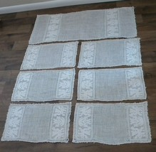 Antique Italian Placemats Linen HandWoven Embroidered Runner Napkins Win... - $285.00