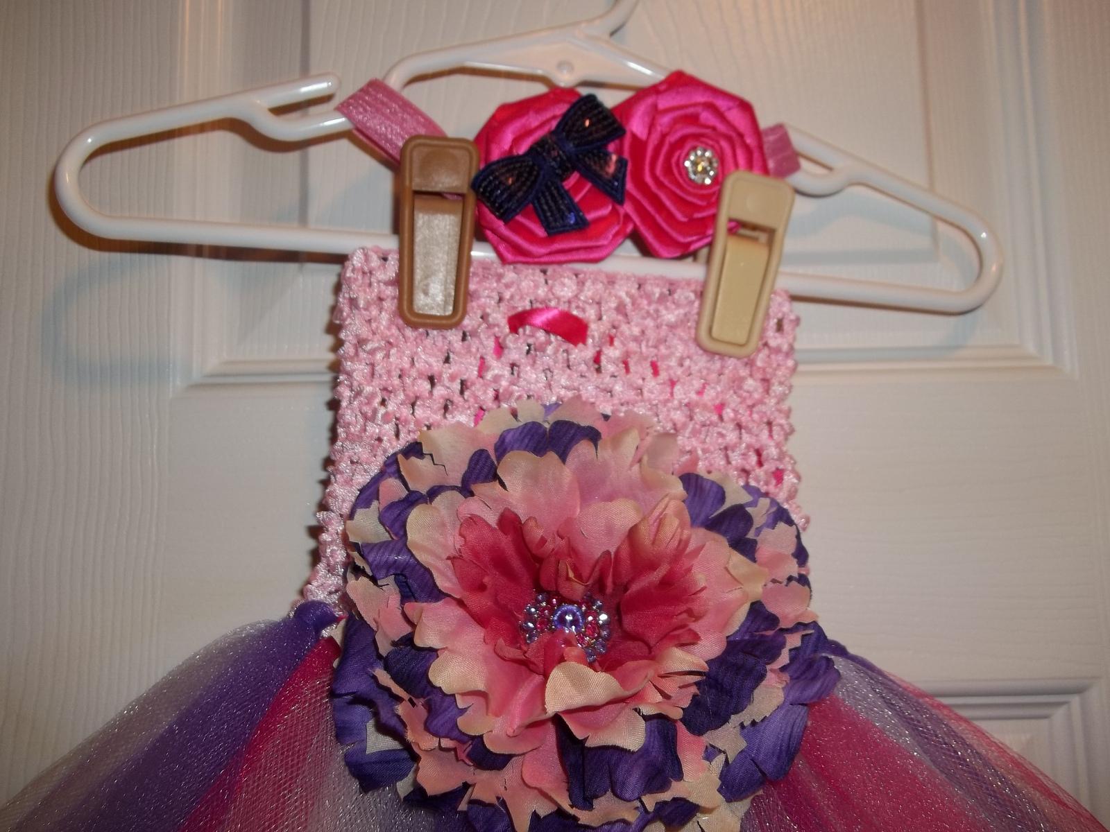 BABY GIRL LONG PINKS & PURPLE TUTU PHOTO PROP DRESS WITH HEADBAND