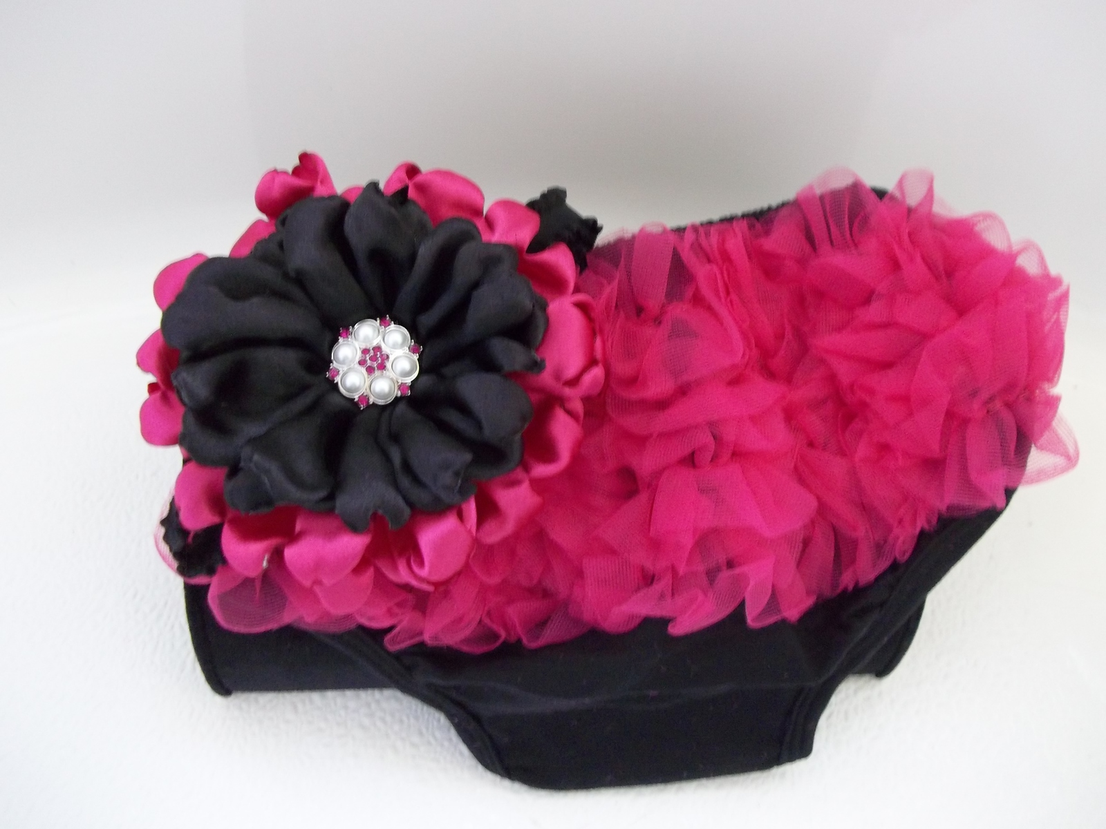BABY GIRL HOT PINK AND BLACK BLOOMERS WITH FEATHER HEADBAND PHOTO PROP