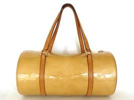 Authentic LOUIS VUITTON Monogram Petent Leather Beige Vernis Bedford Handbag Bag - $204.26
