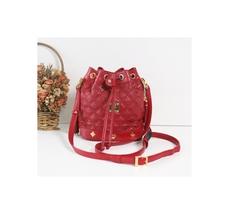 Authentic MCM Quilt Tassle Leather Shoulder Cross Handbag Small Red Vintage - $320.00