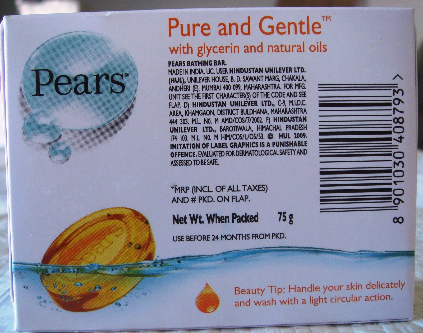 12 BARS! Pears 75g Pure & Gentle Soap w/ Glycerin & Natural Oils USA-FAST SHIP