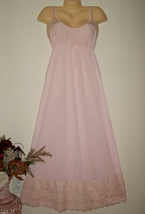 VINTAGE Pink Goddess Nylon & Lace Long Nightgown - $24.00