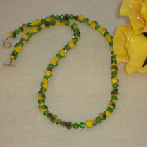 Chartreuse and Green Crystal Beaded Necklace  FREE SHIPPING - $30.00