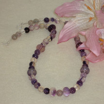 Fluorite Gemstone Beaded Necklace  FREE SHIPPING - $30.00