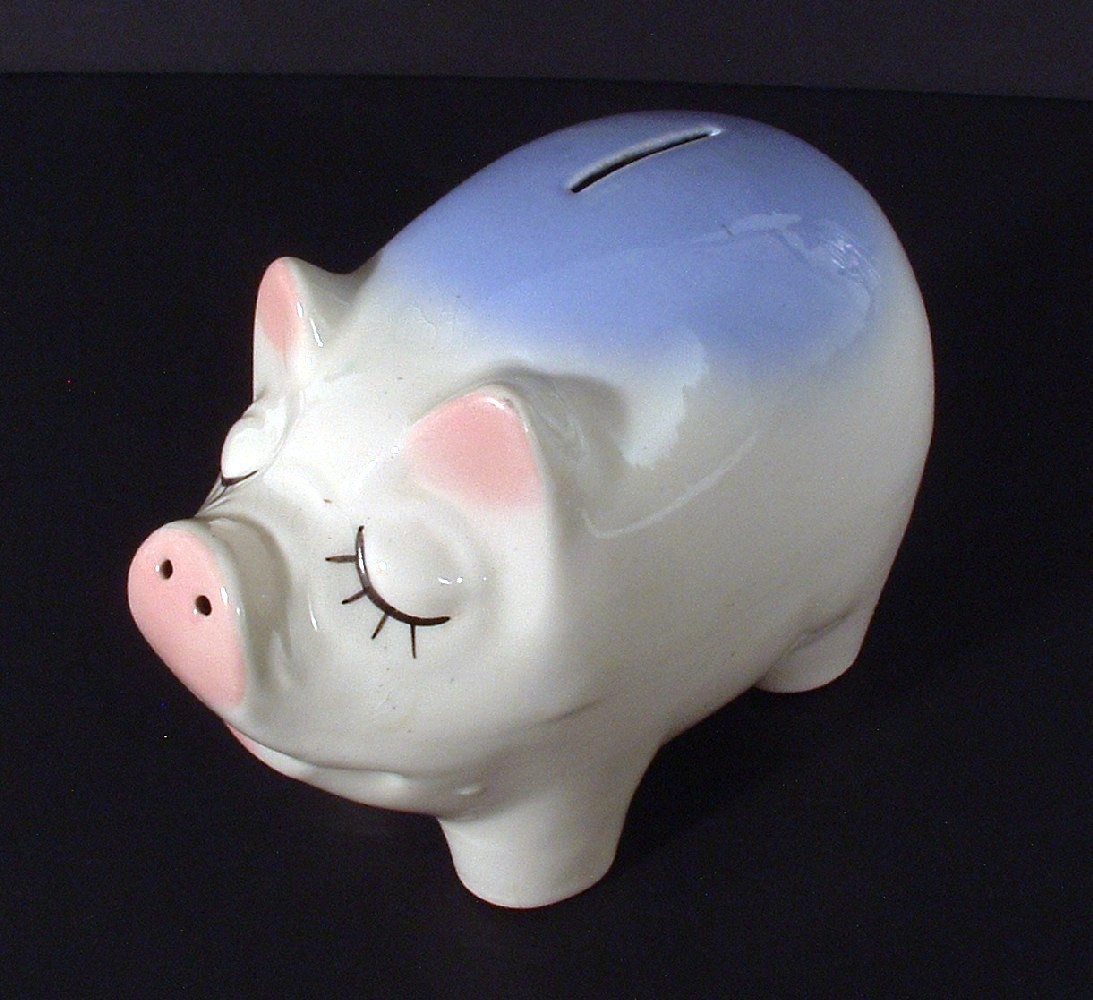 Vintage Snooty Ceramic Pig Piggy Bank With Usa Imprint Pigs