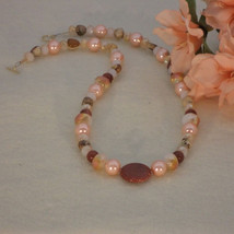 Peach and Brown Beaded Necklace With Mixture of... - $29.00