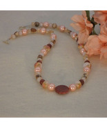 Peach and Brown Beaded Necklace With Mixture of Shapes and Sizes  FREE S... - $29.00
