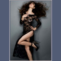 Long Black Floral Lace Long Sleeved Sheer Transparent Night Gown With Hip Slit