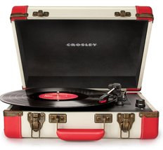 PORTABLE TURNTABLE RECORD PLAYER DELUXE 3 SPEED USB PORT RED WHITE ELVIS PRESLEY image 2