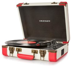 PORTABLE TURNTABLE RECORD PLAYER DELUXE 3 SPEED USB PORT RED WHITE ELVIS PRESLEY image 1
