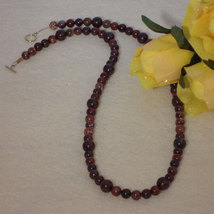 Dark Poppy Jasper Gemstone Beaded Necklace  FREE SHIPPING - $37.00