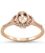 10K Rose Gold .49 CTW Oval Cut Morganite & Diamond Engagement Ring - $379.99