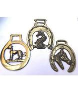 Lot of 3 VTG Horse Shoe Dog Hound belt harness brass metal fob pendant - $33.41