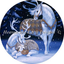 Ornament White Reindeer Family cross stitch chart Heaven and Earth Designs HAED - $10.80