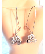 skull pumpkin carriage earrings halloween fall tibetan silver charm jewe... - $5.99