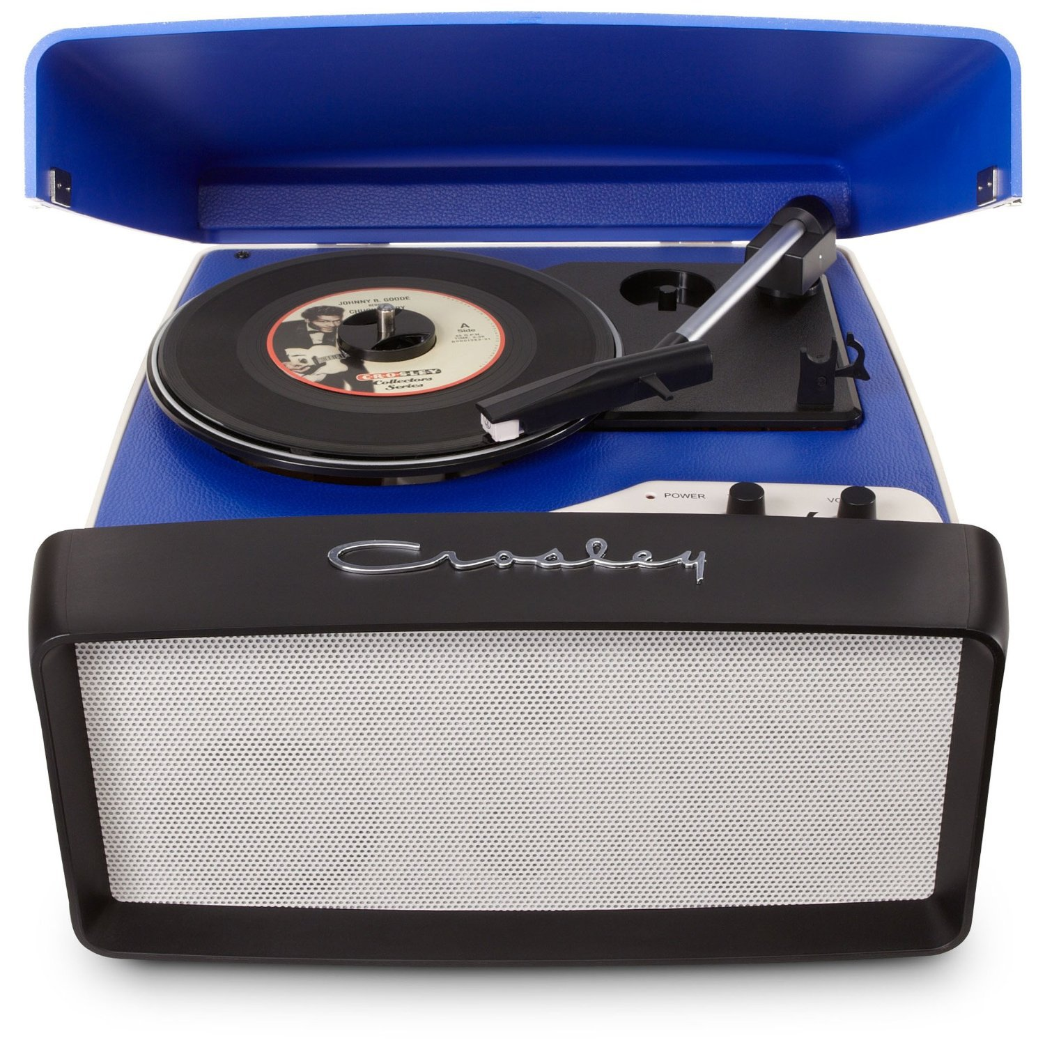 Portable Record Player Turntable Front Blue Grill Speaker