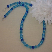 Array Of Blues In Crystal Rondelle Beaded Neckl... - $30.00