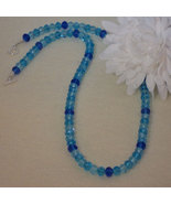 Array Of Blues In Crystal Rondelle Beaded Necklace  FREE SHIPPING - $30.00