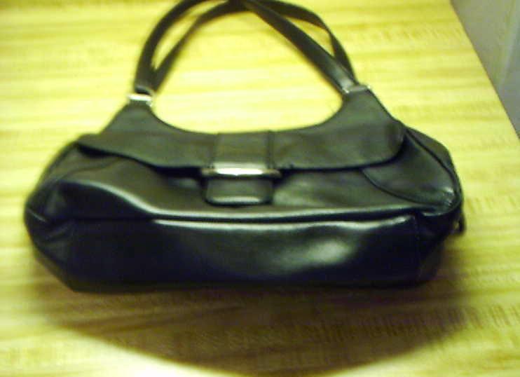 Black Leather Cowhide Las Worthington Purse Handbag 19 55