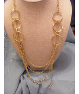 GOLDTONE HOOP AND LINK CHAIN MULTIPLE STRAND NECKLACE - $12.19