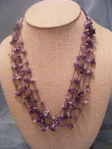 Deep Purple, Lavender, Light Purple Amethyst Chips Multistrand Necklace - $13.09
