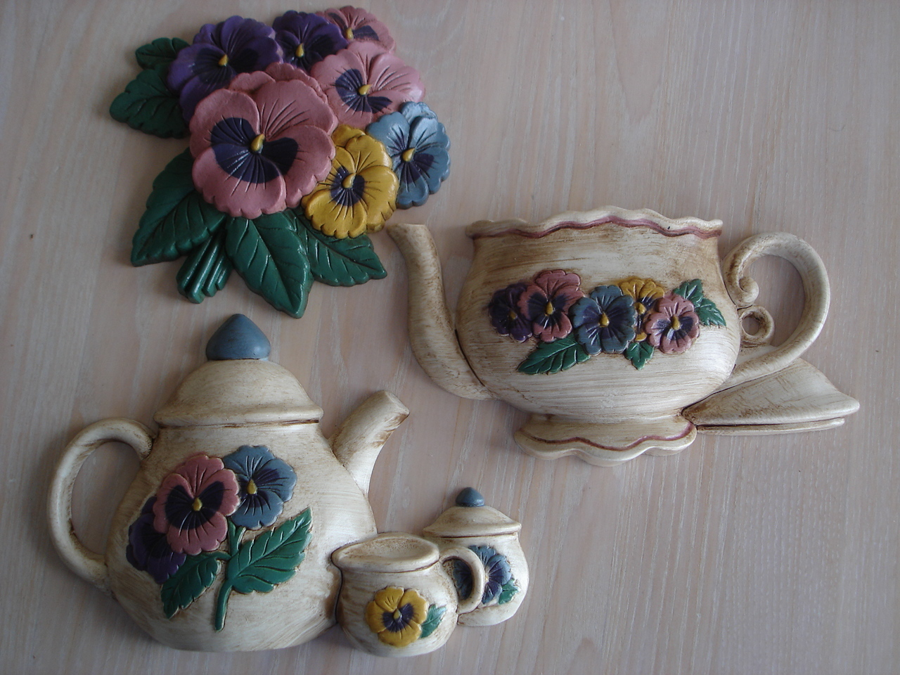 Home Interiors Pansies & Pots Wall Decor Plaques, 33201,2, &
