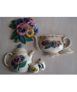 Home Interiors Pansies & Pots Wall Decor Plaques, 33201,2, & - $8.99