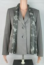 Evan Picone Petite Damen Anzug Blazer Grau mit Schal Polyester Größe 10P - $23.91
