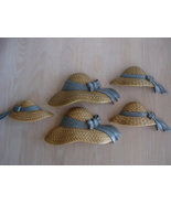 Homco 5 pc Figural Bonnet W Ribbons Wall Decor Plaques - $7.99