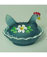 Blue Satin Glass Chick Hen on Nest Salt Dip Cel... - $27.95