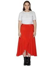 Benares Red Womens Wrap Skirt - Viscose Long Wrap Around Skirt - Plus Size,2X