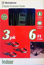 Lot of 2 Westinghouse 3 Packs 6 ft. Indoor Holiday Decor Outlet Extension Cords  image 2