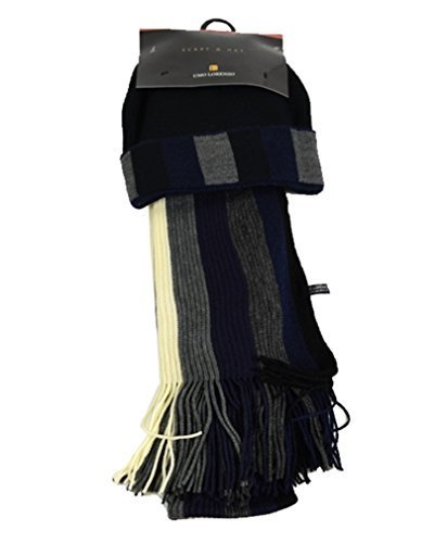 New Unisex Navy And Grey Acrylic Winter Set Scarf And Hat - SCFH216