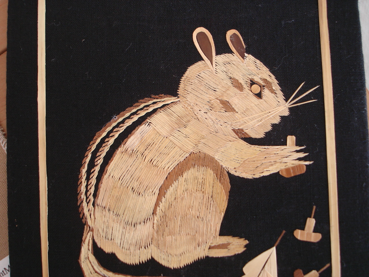 Vintage Tapestry Mirpur Golden Wheat Thread Straw Art Squirrel Picture