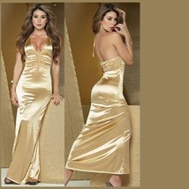 Long Black, Gold or Red Satin Halter Gown Ruched Bustline & Rhinestones Straps image 2