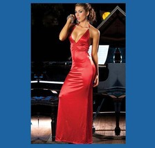 Long Black, Gold or Red Satin Halter Gown Ruched Bustline & Rhinestones Straps image 3