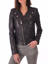 New Asymmetrical Front Women's 100% Genuine Soft Lamb Skin Leather biker... - $149.00