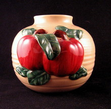Ceramic Pottery Bean Pot Hand Thrown, Applied Apple Bah Relief Decoration - $31.18